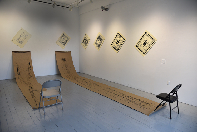 Tongji Philip Qian Recent Works in Reverse Chronological Order Eight silkscreen prints, twenty-eight wooden push pins, and two chairs