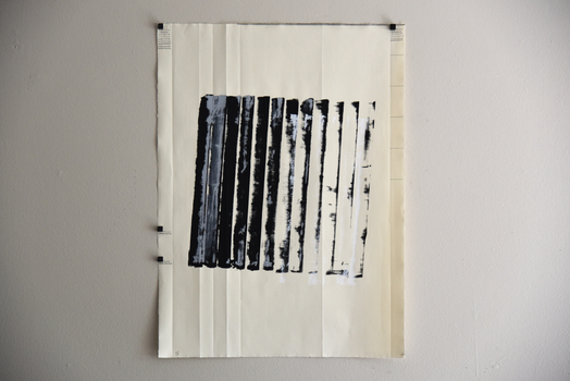 """Tongji Philip Qian Homage to """"P.W.""""  Ink, graphite, and push pins on paper"""